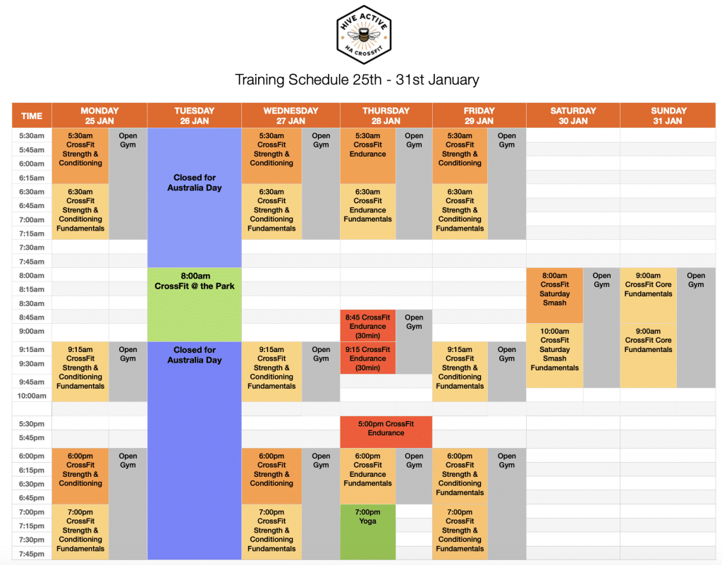 25th - 31st January training schedule